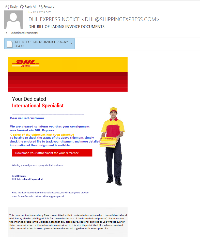 A fake message on behalf of DHL with an attachment containing the Pony Trojan