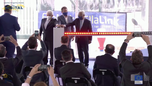 EllaLink Inauguration at DigitalEU2030, with Portuguese Prime Minister Antonio Costa, EllaLink CEO Pilippe Dumont and Brazilian Minister Marcos Pontes